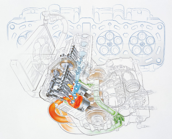 FZ750 in-line 4-cylinder DOHC engine with five valves per cylinder