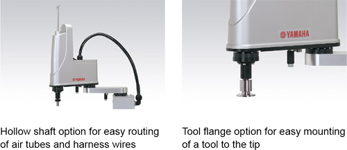 Hollow shaft and tool flange options are selectable