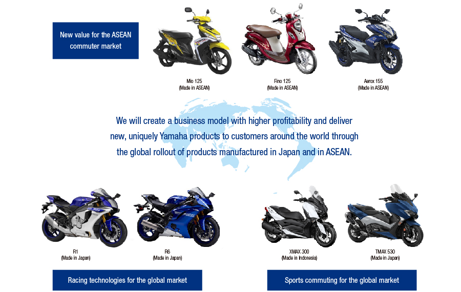 We will create a business model with higher profitability and deliver new, uniquely Yamaha products to customers around the world through the global rollout of products manufactured in Japan and in ASEAN.