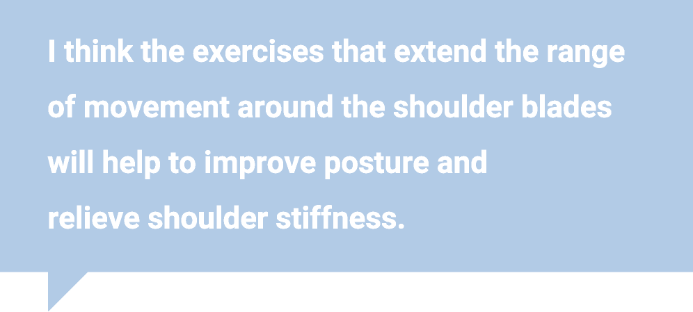 I think the exercises that extend the range of movement around the shoulder blades will help to improve posture and relieve shoulder stiffness.