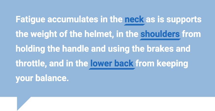 Fatigue accumulates in the neck as is supports the weight of the helmet, in the shoulders from holding the handle and using the brakes and throttle, and in the lower back from keeping your balance.