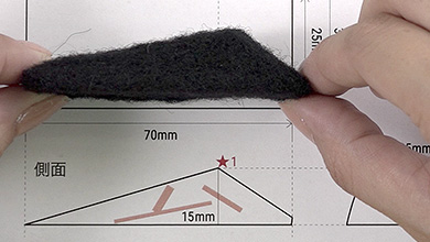For the height, poke to create the side as shown on the pattern. Check with the pattern once you have finished the shape.