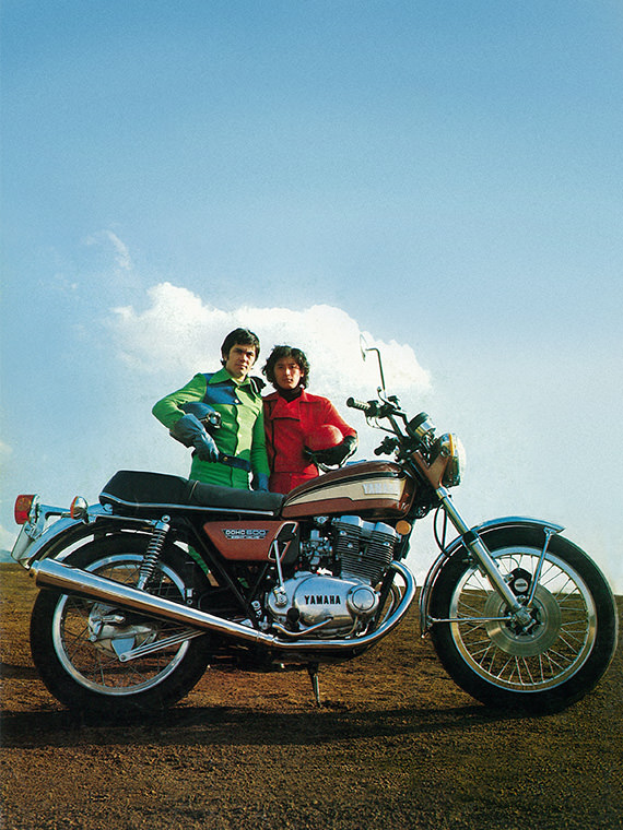 Advertisement photo for the 1972 TX750