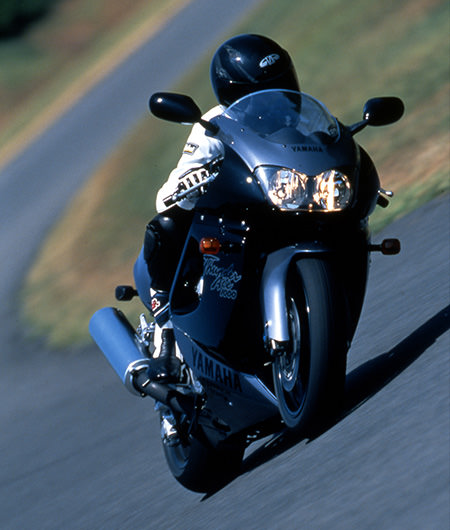 The YZF1000R out on the test course (1996)