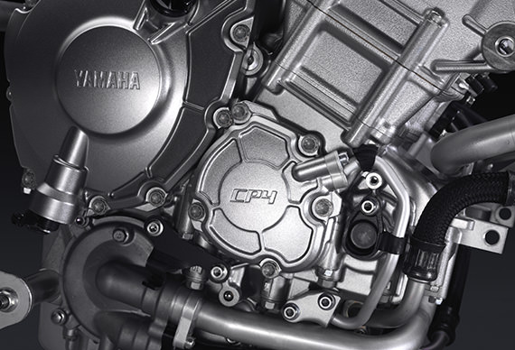 "The 2015 YZF-R1's all-new ""CP4"" crossplane engine"